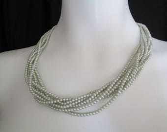 Eight strand light blue faux pearl beaded necklace vintage