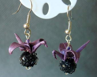 Handmade Origami Earrings with Cranes of Happiness Metallic Paper Purple and Black Glitter