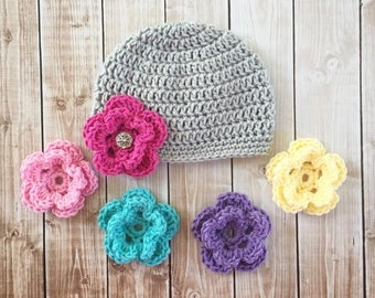 Beanie with Five Interchangeable Flowers Available in Newborn to Adult Size- MADE TO ORDER