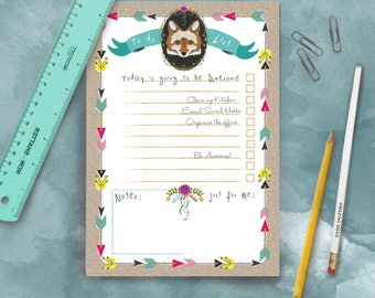 Wild and Free Fox A5 Daily Organiser Notepad To Do List and Pencil Set