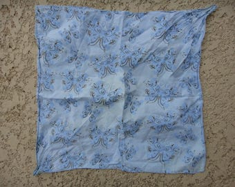 Vintage butterflies blue Bandanna / Bandana , vintage butterflies blue hair scarf
