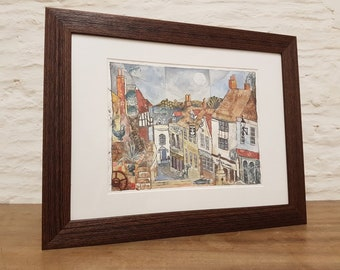 Church Steps, Frome, Original Mixed Media Framed scene by Amy Yates