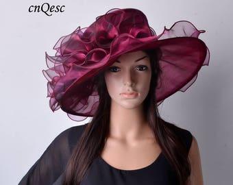 Wine Large brim Kentucky Derby hat Organza Church Hat for races,Kentucky derby,Royal Ascot,Wedding,party,church