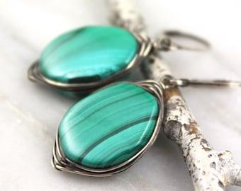 Malachite Oxidized Silver Wrapped Earrings