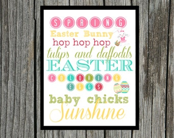 INSTANT Download EASTER Subway Art - Wall Art Print 8 X 10 PRINTABLE Download