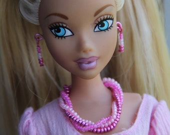 "Pink Beaded 3 Strand Necklace Bracelet & Earrings Doll Jewelry Set fits 11 1/2 - 12"" 1/6th Scale Fashion Dolls"