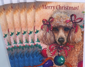 6 x apricot poodle dog greeting holiday cards - she was feeling Christmassy in her baubles and bows toy standard Susan Alison