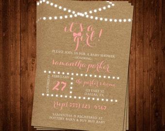 Kraft Paper It's A Girl Baby Shower Invitation
