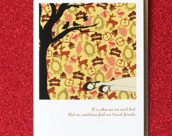 SNOW WHITE snow falls.  blank greeting card based on the fairy tale snow white and the seven dwarfs.