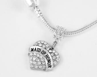 Maid of Honor Necklace  Maid of honor charm Marriage gift Bridal  jewelry Matron of honor gift Matron of honor European Style Necklace