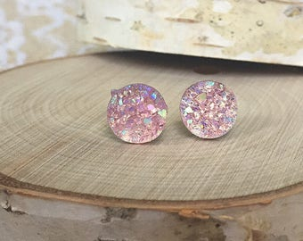 Druzy Earrings - Light Pink - 10mm