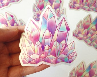 Pink Aura Crystal Brushed Alloy Vinyl Sticker, Crystal Sticker, Aura Crystal Sticker