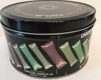Plantation Chocolate Straws Tin - 32 Oz Tin  - Vintage Cookie Tins - Repurposed Candy Tin - Food Storage