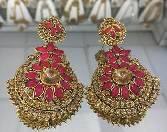 Indian style ruby red&antique gold earrings