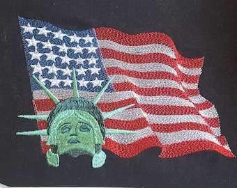 American Flag and Liberty embroidery design / Machine Embroidery Design / Independence Day