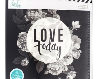 Heidi Swapp Memory Planner - Love Today - 12-Month Non-dated Black and White Flower Planner