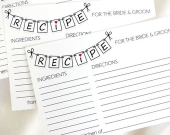 DIY Printable Pennant Recipe Cards for Bride & Groom for a Bridal Shower in 4x6 and 5x7