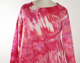 Asymmetric Tunic, Long Sleeve, Cotton, Ice Dyed Tie Dyed, Crumple, Pink,  MADE TO ORDER