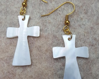 Pearl Shell Cross Earrings