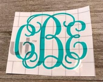 script monogram vinyl decal