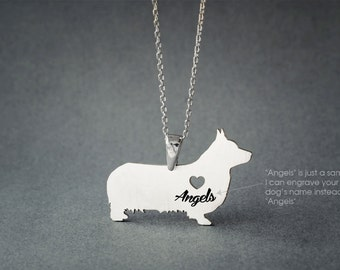 PEMBROKE WELSH CORGI Name Necklace - Corgi Name Necklace - Personalised Necklace - Dog breed Necklace - Dog Necklace