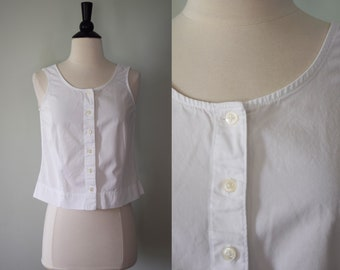 Vintage white button up blouse / sleeveless tank top