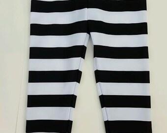 Children & Toddler Black and White striped Spandex Leggings