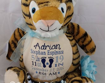 Personalized Stuffed Animal, Personalized Baby Gift, Tiger Cubbie with Birth Announcement by Felicia's Fancies Baby Boutique
