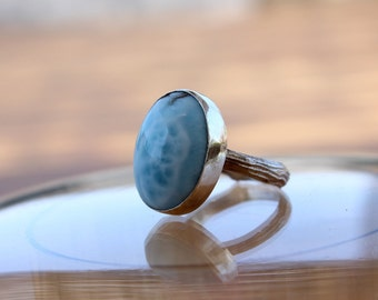 Larimar ring, Oval larimar Cocktail ring, sky blue Gemstone ring, wonderful larimar statement ring