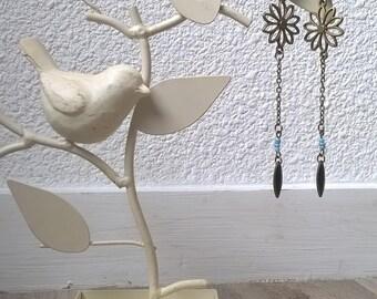 Earrings dangle blue and black flower