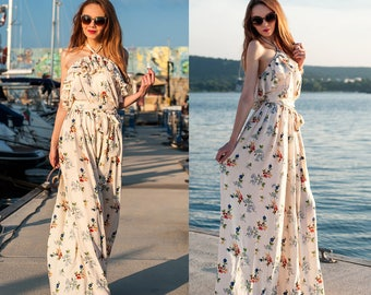 Maxi Women Dress / Long Dress / Ruffle Dress / Summer Dress / Floral Dress / Dress Whit Belt / Womens Dresses / Cotton Dress / Fashionable D