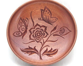 Round Butterfly Dish made from reclaimed Mahogany