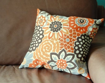 PILLOW-with filling- Orange brown gray floral - 16 by 16
