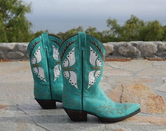 VINTAGE 80's Caborca Teal Leather Cut-Out Butterfly Cowgirl Western Boots 8 U.S