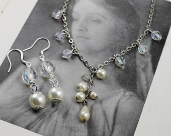 Pearl and Crystal Assemblage Necklace with matching Earrings, Vintage Pearl and Crystal Bridal Necklace and Earrings SET
