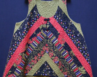 Black and Bright Quilted Swing Vest (XL)