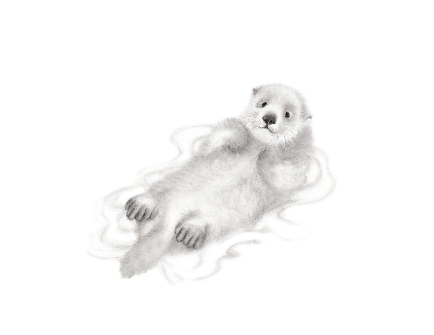Otter baby sea otter pencil drawing gender neutral baby zoom jeuxipadfo Choice Image