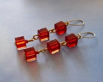 Blood Red Cube Cascade Earrings