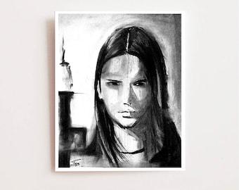 "Wall art for girl room, ""Resolve"" - Fine art Giclee print, charcoal drawing, Wall art for teen, charcoal sketch, girl room art, art print"