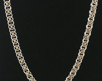 Silver and Gold, Two-Toned, Shiny, Helm Chain Necklace, Chainmaille, Chain Maille, Chainmail, Chain mail