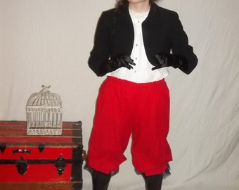 Plus red pantaloons with black lace trim