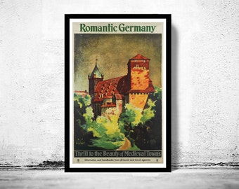 Vintage Poster of Germany, Romantic Germany Travel Poster Tourism 1930-
