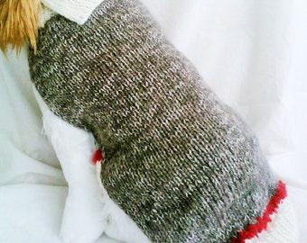 Sock Monkey  Dog Sweater / Handknit / Dog Clothing /3 Sizes