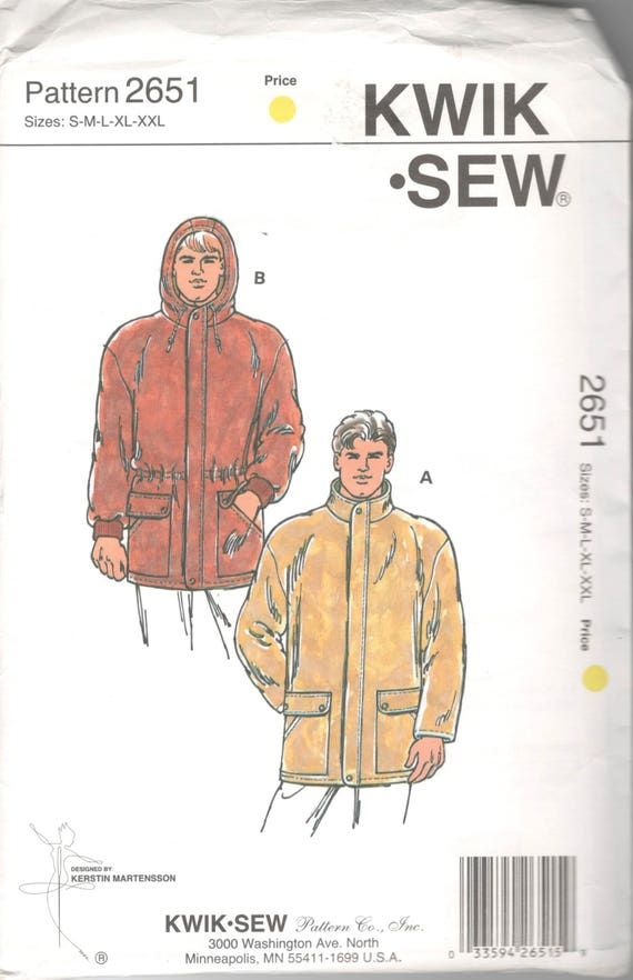 aa825428c5b0e Kwik Sew 2651 Mens Zip Front Lined Jacket Pattern Hood Option Windbreaker  Raincoat Adult Teen Sewing Pattern S M L XL XXl Chest 34 -52 UNCUT from  mbchills …