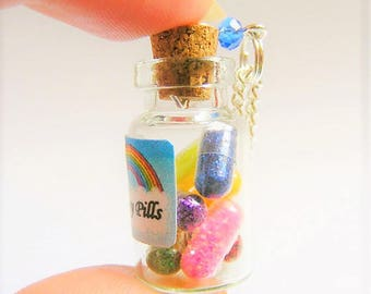 Happy Pills Bottle Necklace, Glitter Pills Necklace, Miniature Food Jewelry, Mini Food Jewelry, Happy Pills Bottle Pendant, Rainbow Necklace