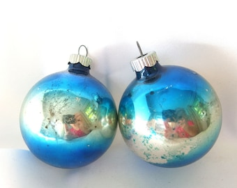 2 Vintage Shiny Brite Christmas Ornaments - Blue and Gold Ombre Shabby Chic Christmas Ornaments