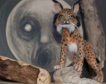 Iberian Lynx, Needle Felted, One of a Kind (this one is sold and is an example only)