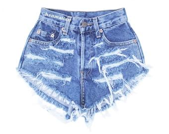 "ALL SIZES ""RAGGED"" Vintage Levi high-waisted denim shorts dark blue distressed frayed jeans"