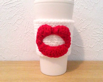 Kissing Lips Cup Cozy, Red or Pink, Made to Order