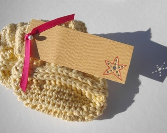 Yellow Cotton Baby Booties - Yellow Cotton Crib Shoes - Ribbed Cuff Baby Booties - Yellow Cuffed Baby Booties - 0-3 months